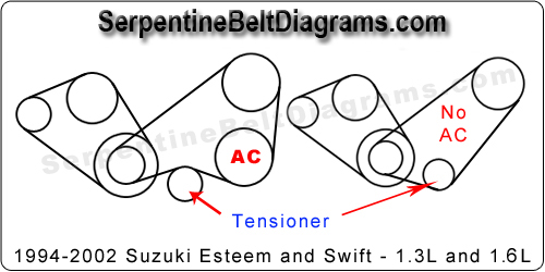 1994 2002 suzuki esteem belt diagram rh serpentinebeltdiagrams com 2001 Dodge Ram 1500 Engine Belt Diagram 2003 Ford Taurus Serpentine Belt Diagram