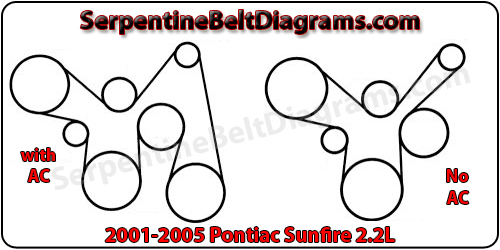 2001-2005 Pontiac Sunfire belt diagramSerpentine Belt Diagrams